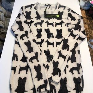 NWT Tricotto SM crewneck dog embellished sweater